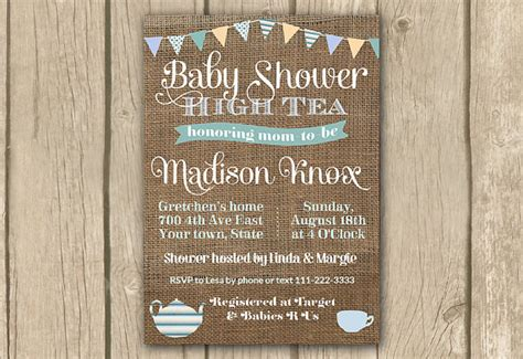 Printable Baby Shower Tea Invitations by Baby Shower High Tea Invitation Printable Baby Shower