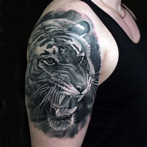 tiger shoulder tattoo black tiger shoulder ideas for best
