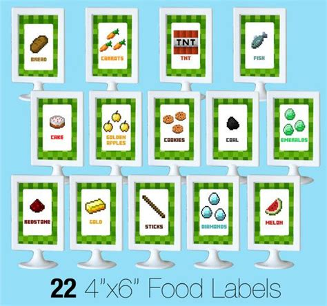 Label Kit Minecraft minecraft food labels diy printable by
