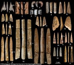 hunting weapons made from bones found in chinese cave