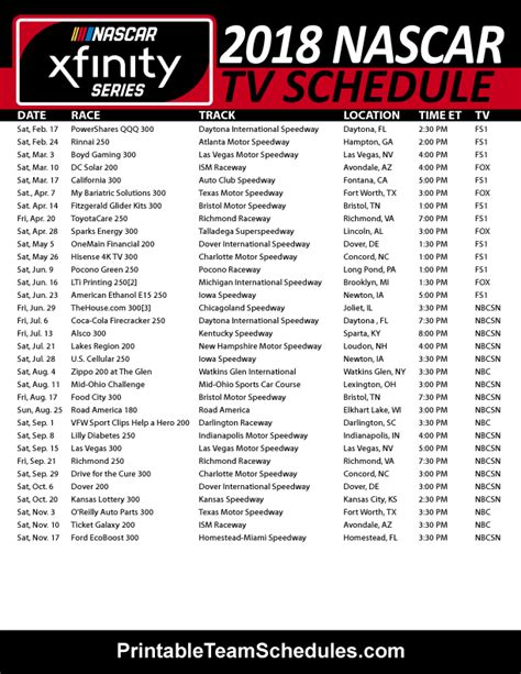 Printable Nascar Xfinity Schedule 2015 | 2015 nascar schedule print new calendar template site