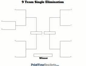 Printable 9 team seeded single elimination tournament bracket