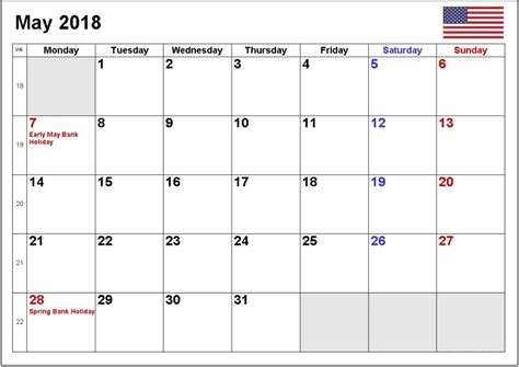 Printable 2018 Calendar With Us Holidays