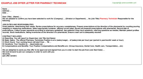 appointment letter of pharmacist pharmacy technician offer letter cv15382
