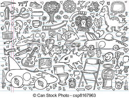 doodle de login vetores de doodle caderno desenho elementos caderno
