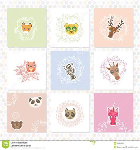 greeting card set funny animals circle floral borders