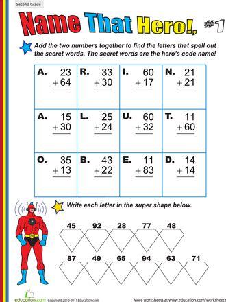 heroes printable worksheets name that hero two digit addition 1 worksheets hero