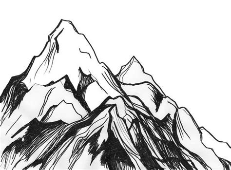 mountain clipart sketch easy pencil and in color