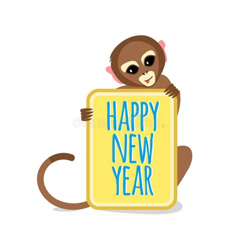 happy new year monkey monkey with happy new year card stock vector