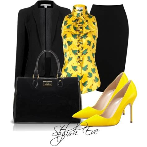 pattern heels polyvore quot black yellow outfit quot by stylisheve on polyvore