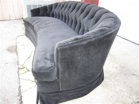 curved shaped sofa spectacular black velvet tufted crescent shaped curved