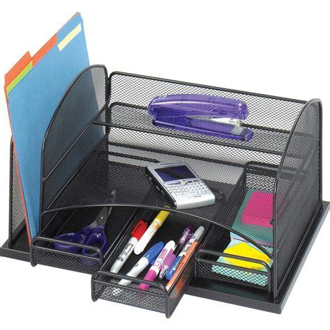 black mesh desk organizer in desktop organizers