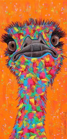 paint nite emu an original watercolour ostrich painting by artist