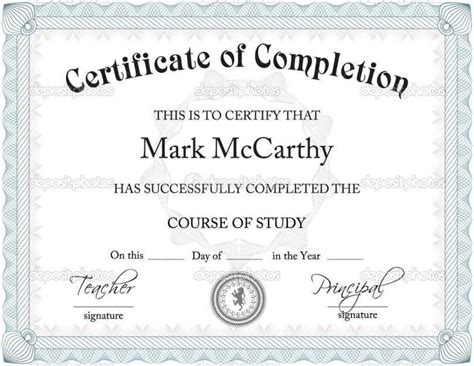 free printable certificate of completion template free certificate of completion templates for word