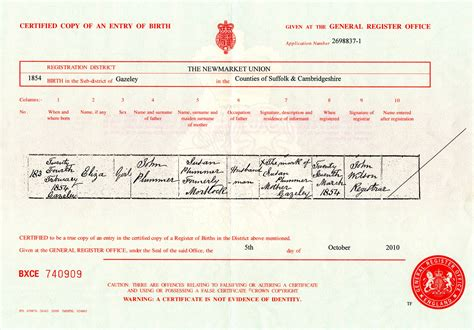 Uk Birth Record Certified Copy Of An Entry Of Birth