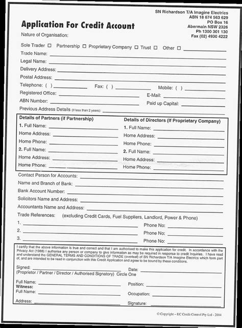 business account application form template business credit application form pdf