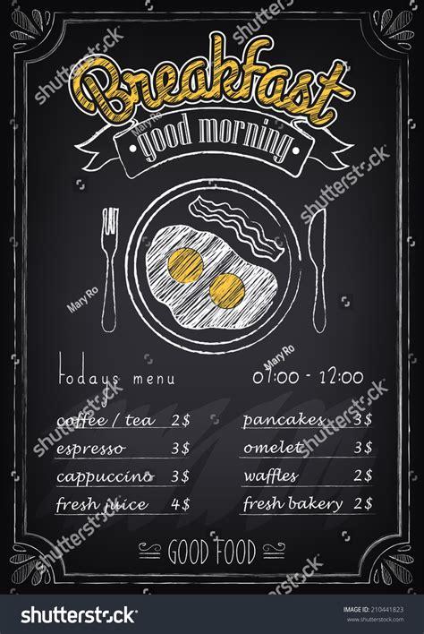 vintage poster breakfast menu fried eggs stock vector