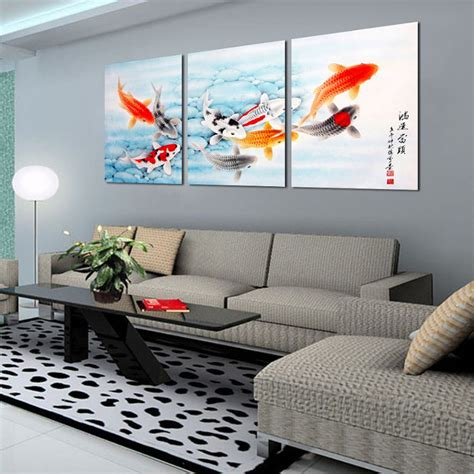 home decorating with modern art 3 piece koi fish wall art chinese painting wall art on