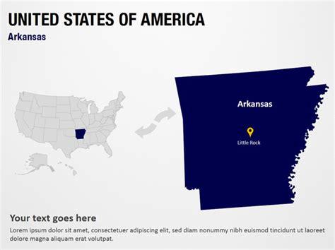 united states map of arkansas arkansas united states of america powerpoint map slides