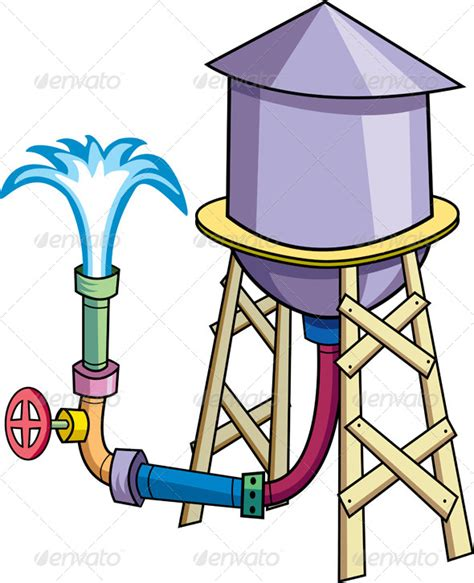 stock vector graphicriver cartoon water tower 5129542