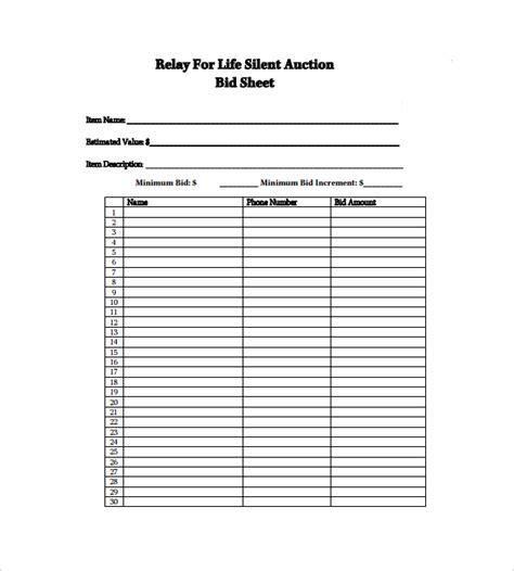 silent auction bid sheet template 9 download free