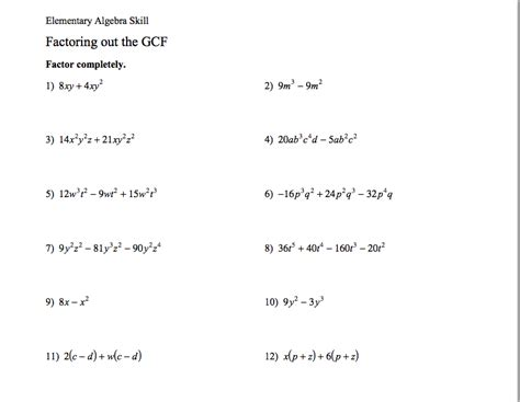 Greatest Common Factor Worksheet Answers by Homework Assignments Ms S Website