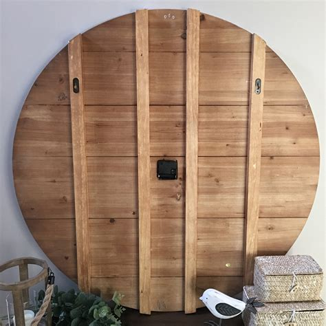 white farmhouse clock 91cm white timber wall clock plank wood clock