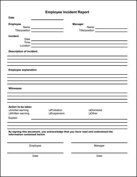Report Document Template Blank Employee Incident Report Form Template Sle