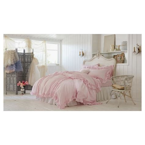 ruffle duvet sham set full queen pink simply shabby