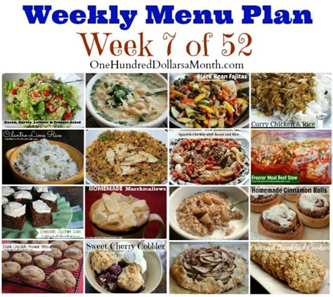 s weekly meal planner a 52 week menu planner with grocery list for planning your meals s cooking series volume 1 books weekly meal plan menu plan ideas week 7 of 52 one