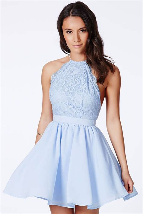 Blue Baby Dress chic cross back lace backless design baby blue dress