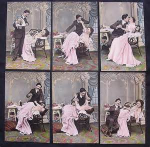 Kitchener Home Furniture rare set of six victorian era risque postcards from