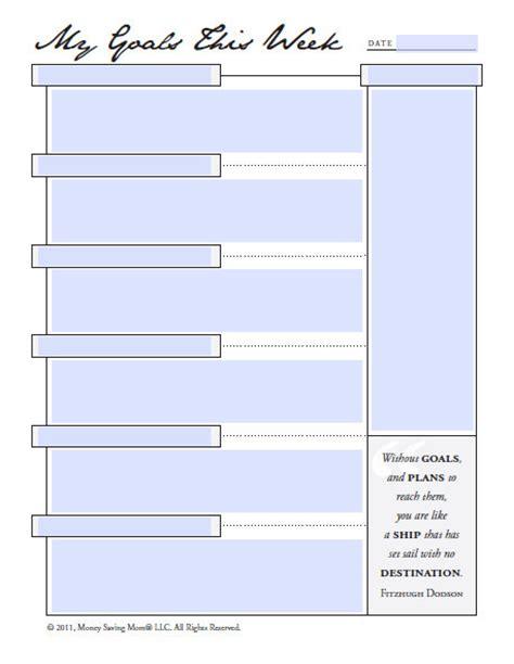 free printable goal sheets printable goal sheets