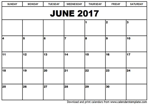 june 2017 calendar printable template holidays pdf