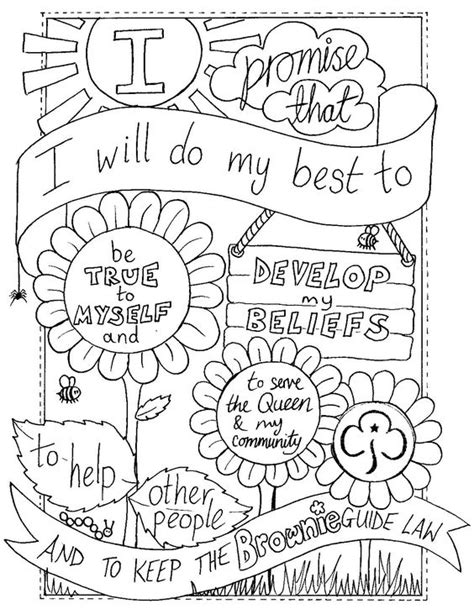 Uk Brownie Promise Colouring Sheet Created By Emyb Emy Scout And Promise Coloring Pages