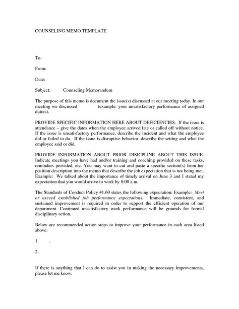 letter of counseling template best photos of sle counseling letter employee