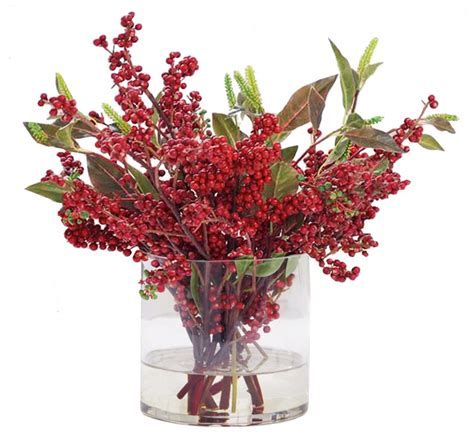 christmas berries in glass traditional artificial