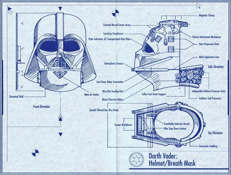 riddell helmet blueprints star wars vader pinterest