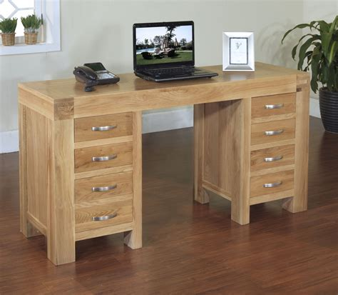 Solid Oak Home Office Furniture Rivermead Solid Modern Oak Furniture Large Office Pc Computer Desk