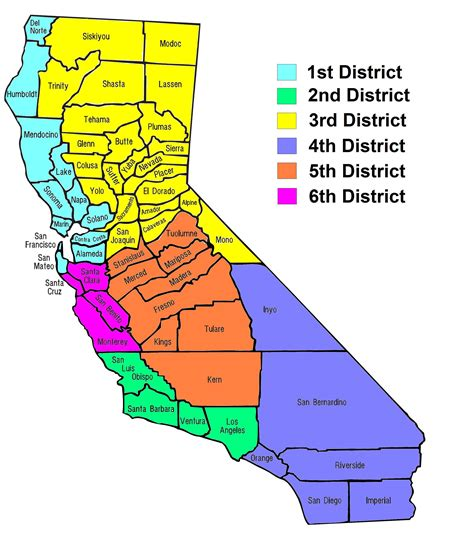 California Court Of Appeal Search File California Counties And Court Of Appeals Map Jpg