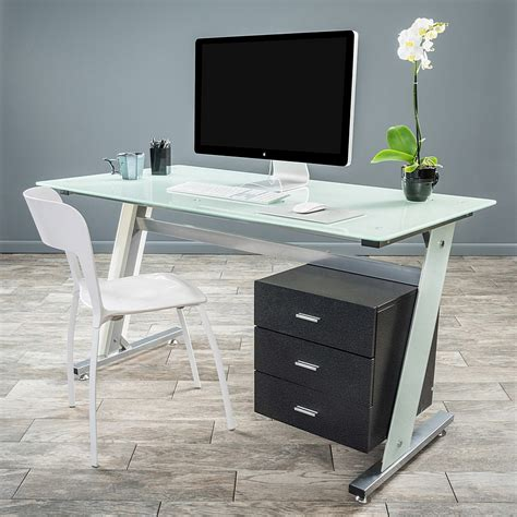 Modern Glass Desk Modern Glass Computer Desk And Cabinet Drawers Minimalist Desk Design Ideas