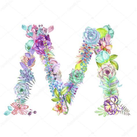 flower design m letra m de flores acuarela dibujado sobre un fondo blanco