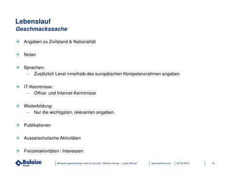 Lebenslauf Zivilstand bewerbungsworkshop baloise 04 2012