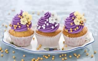 Cupcakes flowers purple cream sweet dessert hd wallpaper