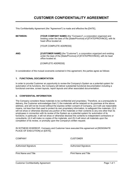 contractor confidentiality agreements customer confidentiality agreement template sle
