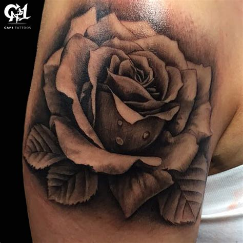 rose tattoo photos black and gray realistic shoulder