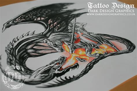 dragon of the darkness flame tattoo design from design graphics on behance
