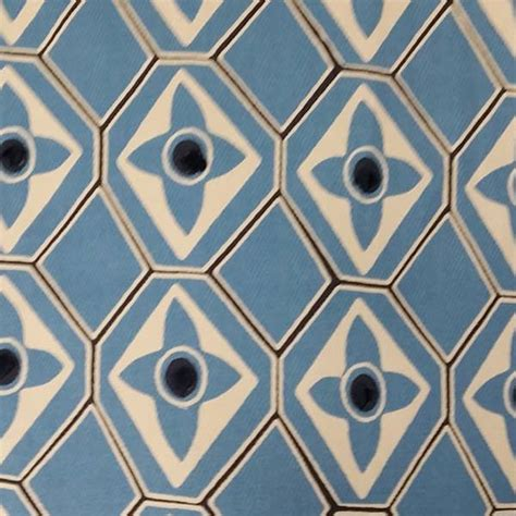 Decor Discount Carcassonne by Carcassonne Lake Blue Geometric Embroidered Dot Cotton