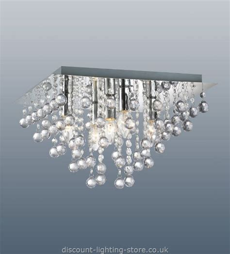 Contemporary Ceiling Lights Uk Palazzo Polished Chrome Square Light With Acrylic Droplets 5 Light Ceiling Lights Buy Modern