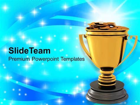 ppt templates for rewards golden trophy with dollar coins reward winner powerpoint